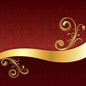Golden Wave mit Blumenschmuck und red Wallpaper Hintergrund. — Stockvektor