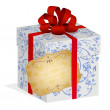 Present box with red ribbon and bow and notice label. — Stock Vector