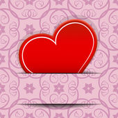 Red heart inserted in paper cut vector card with copy space. — Stock Vector