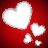 Hart vormen gesneden rode vector achtergrond met kopie ruimte. — Stockvector