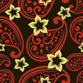 Seamless ornate vector wallpaper pattern with flower buds. — Stock Vector