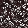 Seamless dark rose floral vintage vector pattern. — Vecteur
