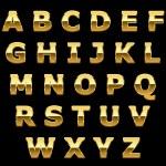 Golden metallic shiny letters — Stock Vector