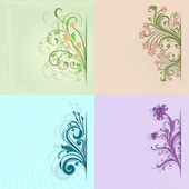4 flower vintage color vector cards with copy space. — 图库矢量图片