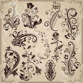 Floral vintage vector design elements — Stock Vector