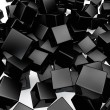 Falling 3D black rounded cubes background. — Stock Photo