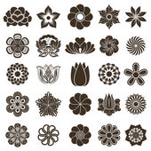 Vintage flower buds vector design elements isolated on white bac — Stock Vector
