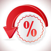 Sale label with curvy red arrow vector illustration. — Stockvektor