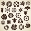 Stock Vector: Vintage flower buds vector design elements. Set 2.
