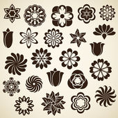 Vintage flower buds vector design elements. Set 2. — Stock Vector