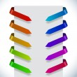 Color ribbon pointers bending around paper vector set. — Stock Vector