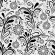 Seamless black and white floral vintage vector pattern. — Stock Vector