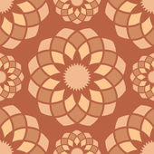 Seamless brown abstract ornamental flower buds pattern. — Stock Vector