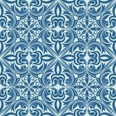 Seamless blue abstract floral ornament vector pattern. — Stockvektor