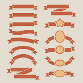 Vintage red plain banners vector set isolated on beige backgroun — Stock Vector