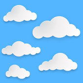 Paper clouds vector template isolated on blue background. — Stockvector