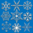 Set of vector snowflakes isolated on blue background. — Stock Vector #31425485