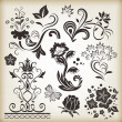 Floral vintage vector design elements. Set 25. — Vector de stock
