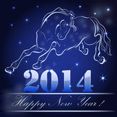 New 2014 year card with horse outline. — Stock Vector