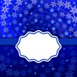 Stock Vector: Christmas snowflake swirl vector background with blank label.