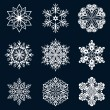 White snowflake ornate shapes isolated on dark blue background. — Stock Vector