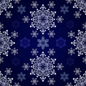 Seamless snowflake dark blue vector background. — Stock Vector