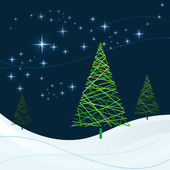 Winter night with Christmas trees vector card. — Stock Vector