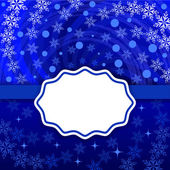 Christmas snowflake swirl vector background with blank label. — Stock Vector