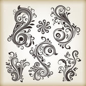 Floral vintage swirly design elements. Set 26. — Stock Vector
