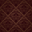 Seamless brown floral vector wallpaper pattern. — Stok Vektör