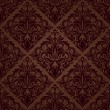 Seamless brown floral vector wallpaper pattern. — Stock vektor