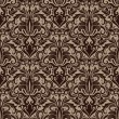 Seamless brown floral vector wallpaper pattern. — Stock Vector