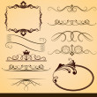 Vintage calligraphic vector design elements isolated on beige ba — Stock Vector