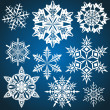 Set of vector snowflakes isolated on blue background. — Stock Vector #35956215