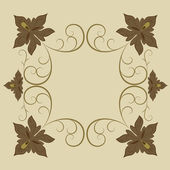 Abstract brown floral vintage frame with copy space. — Stock Vector