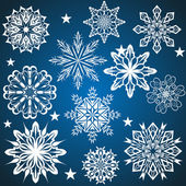 Set of vector snowflakes isolated on blue background. — Stock Vector