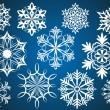Set of white vector snowflakes isolated on dark blue background. — Stok Vektör
