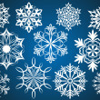 Set of white vector snowflakes isolated on dark blue background. — Stockvectorbeeld