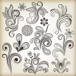 Floral vintage vector design elements — Stock Vector