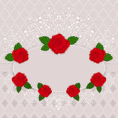 Vintage vector frame decorated with red roses. — Stock Vector