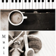 Stock Photo: Coffee and music