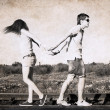 Stock Photo: Artwork in retro style, difficulties in relationships