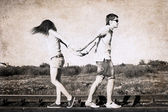 Artwork in retro style, difficulties in relationships — Stock Photo
