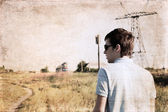 Artwork in grunge style, anticipation — Stok fotoğraf