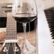Artwork in retro style, music and wine — Stock Photo