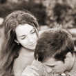 Artwork  in retro style,  young couple — Foto Stock