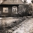 Artwork in retro style, old house in the country — Stock Photo
