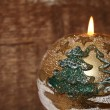 New Year's decoration, golden candle — Stock Photo