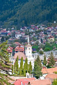 Aeral view of old part of Brasov city, Schei — Foto Stock