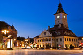 Brasov Council Square at twilight - Transylvania, Romania — Stock Photo